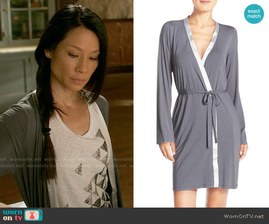 Calvin Klein Essentials Short Satin Robe worn by Joan Watson on Elementary