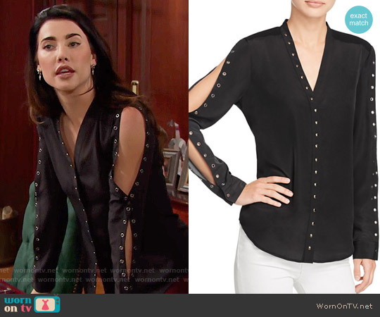 Chelsea and Walker Grommet Top worn by Jacqueline MacInnes Wood on The Bold & the Beautiful