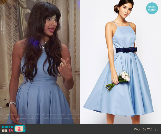 Chi Chi London High Neck Midi Prom Dress with Full Skirt worn by Jameela Jamil on The Good Place