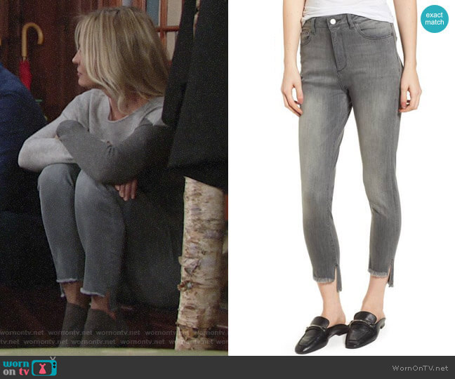 DL1961 Chrissy Trimtone High Waist Step Hem Skinny Jeans worn by Sharon Collins (Sharon Case) on The Young & the Restless