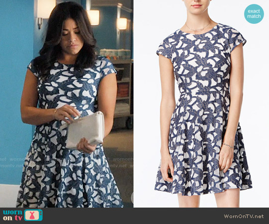 Denim Lace Fit & Flare Dress worn by Gina Rodriguez on Jane the Virgin