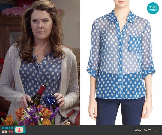 Diane von Furstenberg 'Lorelei' Silk Blouse in Dotted Batick Blue worn by Lorelai Gilmore (Lauren Graham) on Gilmore Girls