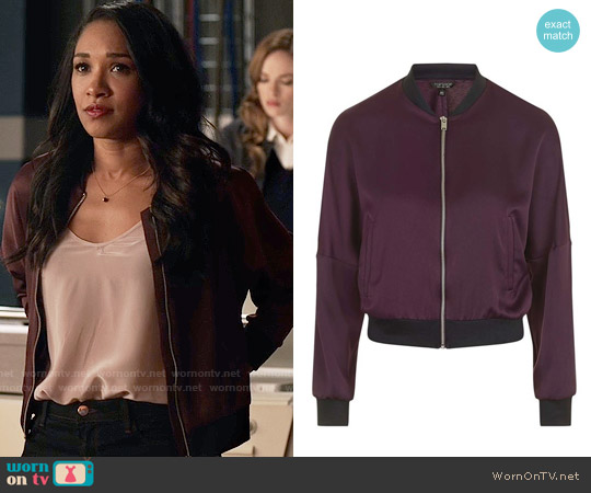 Topshop Dolman Sleeve Satin Bomber Jacket worn by Candice Patton on The Flash