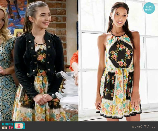 Urban Outfitters Ecote Bonita High-Neck Print Mini Dress worn by Riley Matthews (Rowan Blanchard) on Girl Meets World