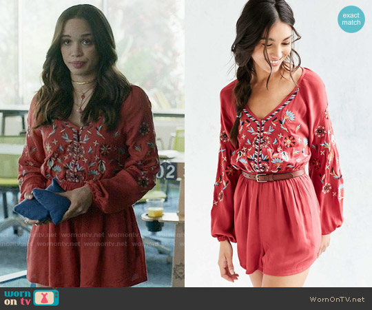 Ecote Embroidered Balloon-Sleeve Romper worn by Erica Dundee (Cleopatra Coleman) on Last Man On Earth