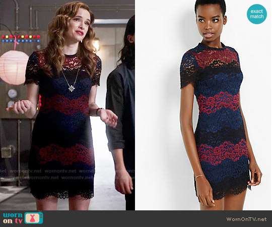 Express Lace Stripe Short Sleeve Dress worn by Danielle Panabaker on The Flash