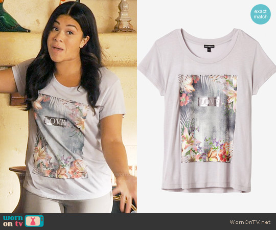 Express Tropical Love Graphic Boxy Tee worn by Gina Rodriguez on Jane the Virgin