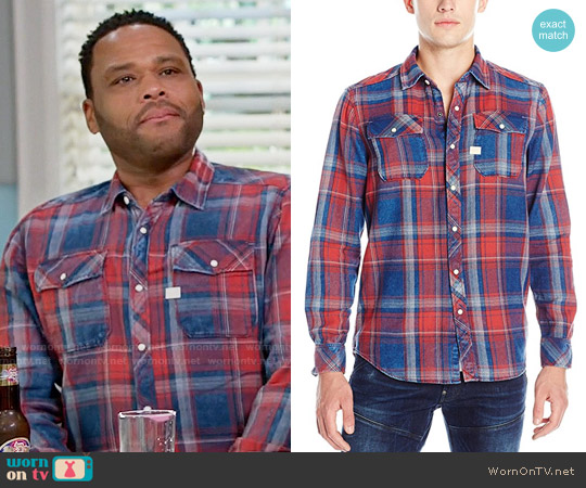 G Star Raw Landoh Shirt in Indigo Antic Red Check worn by Anthony Anderson on Blackish