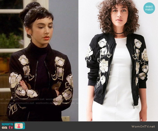 Kimchi Blue Molly Embroidered Bomber Jacket worn by  Molly Ephraim on Last Man Standing