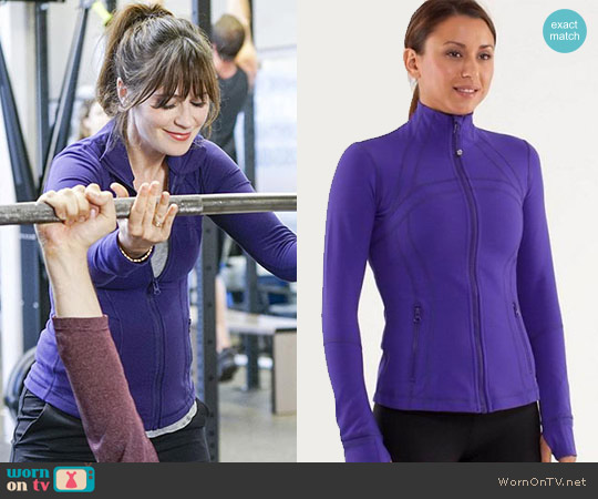Lululemon Define Jacket in Bruised Berry worn by Zooey Deschanel on New Girl