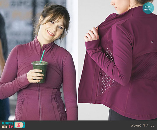 Lululemon Special Edition Exhale Define Jacket in Red Grape worn by Zooey Deschanel on New Girl