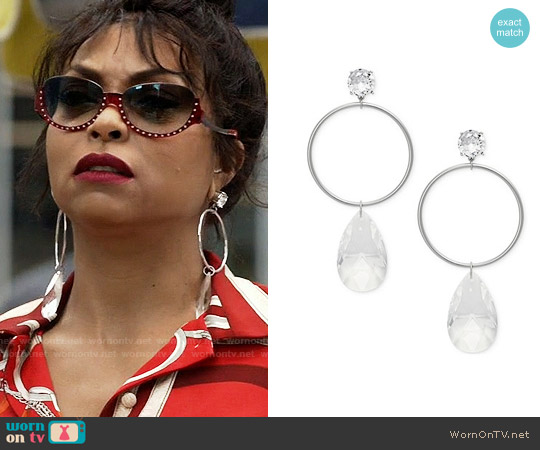 Michael Kors Silver-Tone Cubic Zirconia Drop Earrings worn by Taraji P. Henson on Empire