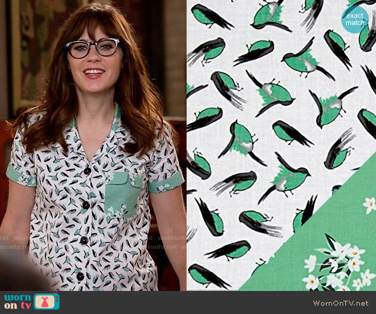 Michael Miller Bed Of Roses Lily-Of-The-Valley and Little Birds Fabric Pajamas worn by Jessica Day (Zooey Deschanel) on New Girl