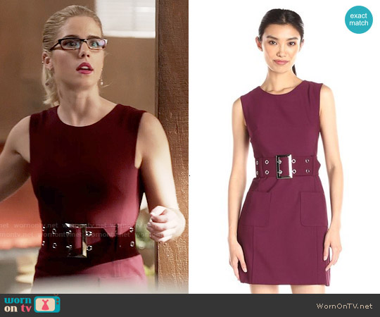 Milly  Belted Mini Dress in Burgundy worn by Emily Bett Rickards on The Flash