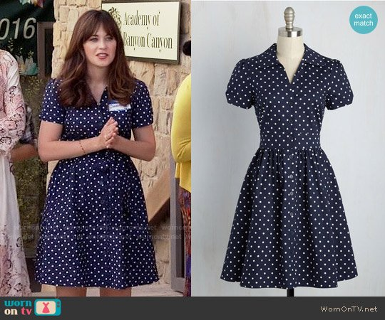 ModCloth Summer School Cool Dress in Navy Dots worn by Zooey Deschanel on New Girl