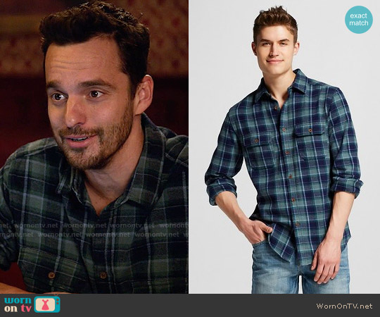 Mossimo Supply Co Flannel Button Down Green worn by Jake Johnson on New Girl