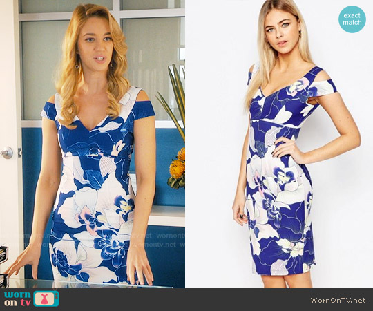 Paper Dolls Cold Shoulder Pencil Dress In Floral Print worn by Yael Grobglas on Jane the Virgin