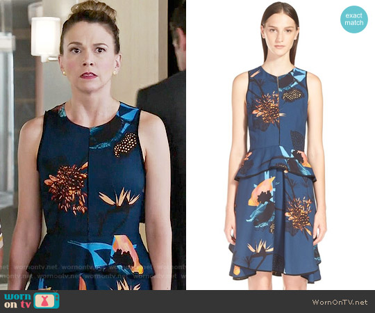 Proenza Schouler Tropical Print Sleeveless Ruffle Dress worn by Sutton Foster on Younger