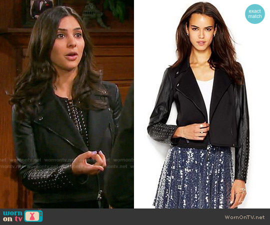 RACHEL Rachel Roy Studded Faux-Leather Moto Jacket worn by Camila Banus on Days of our Lives