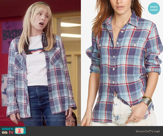 Ralph Lauren Denim & Supply Plaid Utility Shirt in Plaid Multi worn by Kristen Bell on The Good Place