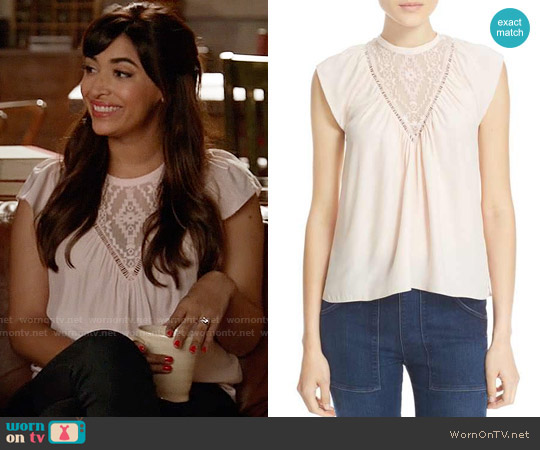 Rebecca Taylor  Embroidered Inset Silk Top by worn by Hannah Simone on New Girl