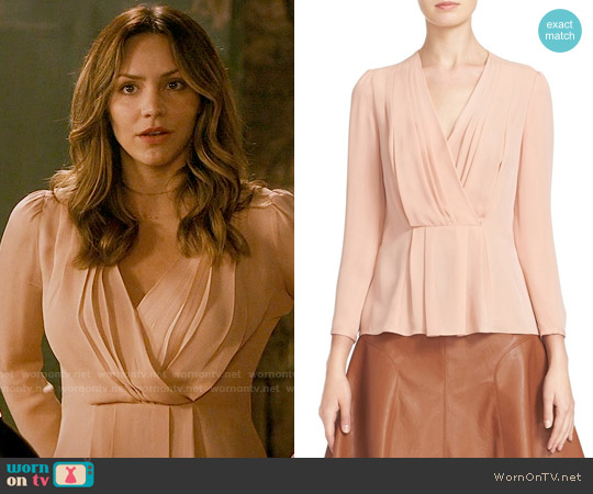 Rebecca Taylor Pleated Georgette Faux Wrap Blouse worn by Katharine McPhee on Scorpion