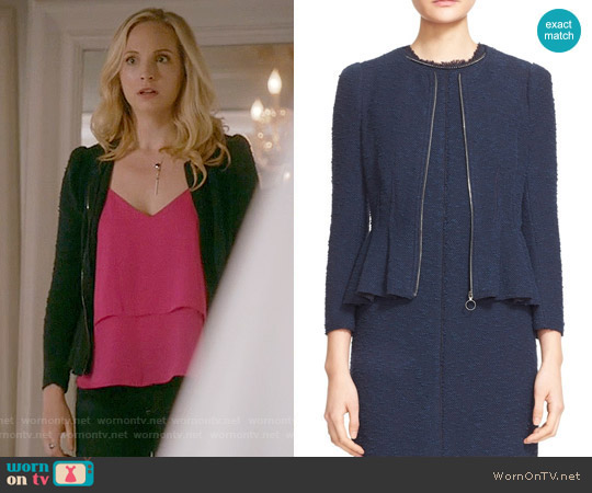 Rebecca Taylor Zip Front Bouclé Tweed Jacket worn by Caroline Forbes on The Vampire Diaries