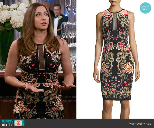 Roberto Cavalli Galaxy & Garden Printed Sleeveless Sheath Dress worn by Chelsea Peretti on Brooklyn Nine-Nine