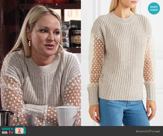 See by Chloe Lace Ribbed Pullover worn by Sharon Case on The Young & the Restless
