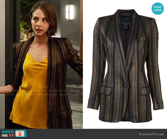 Smythe Shawl Stripe Blazer worn by Willa Holland on Arrow