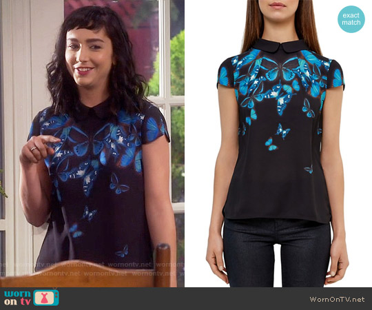 Ted Baker Nealie Butterfly Collective Top worn by  Molly Ephraim on Last Man Standing