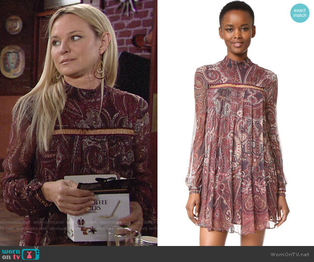 The Jetset Diaries Labyrinth Paisley Mini Dress worn by Sharon Case on The Young & the Restless