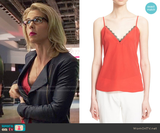The Kooples Lace Trim Crepe de Chine Camisole worn by Felicity Smoak (Emily Bett Rickards) on Arrow