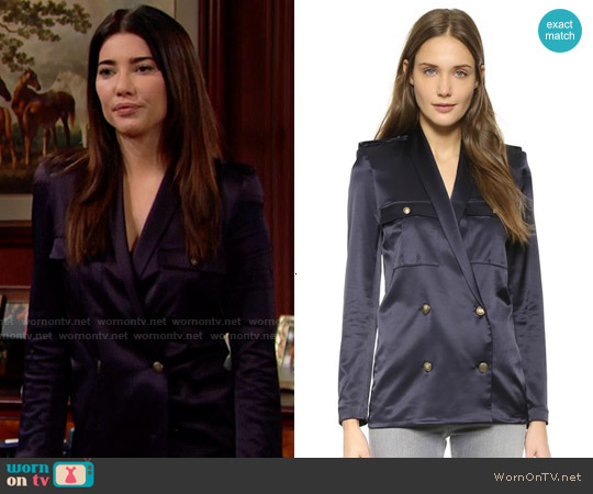 The Kooples Loose Satin Top worn by Jacqueline MacInnes Wood on The Bold & the Beautiful