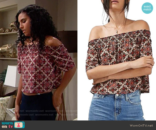 Topshop Scarf Print Off the Shoulder Top worn by Sasha Avant (Felisha Cooper) on The Bold & the Beautiful