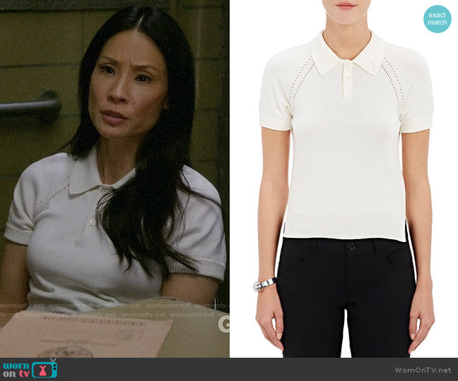 Tricot Comme des Garcons Shrunken Polo Sweater worn by Lucy Liu on Elementary