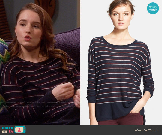 Vince Stripe Wool Blend Sweater in Coastal Combo worn by Kaitlyn Dever on Last Man Standing