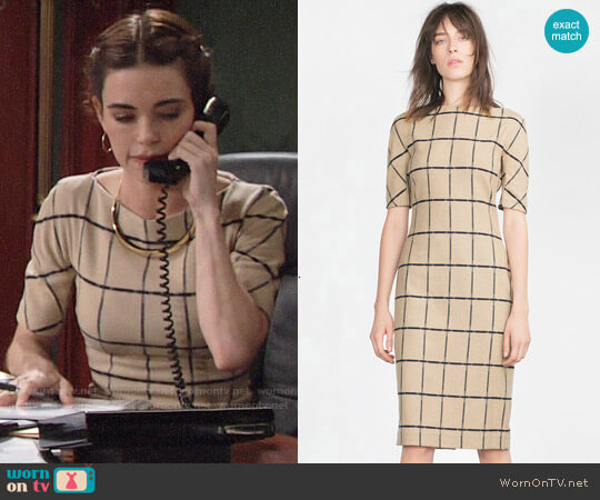 Zara Printed Tube Dress worn by Victoria Newman (Amelia Heinle) on The Young & the Restless