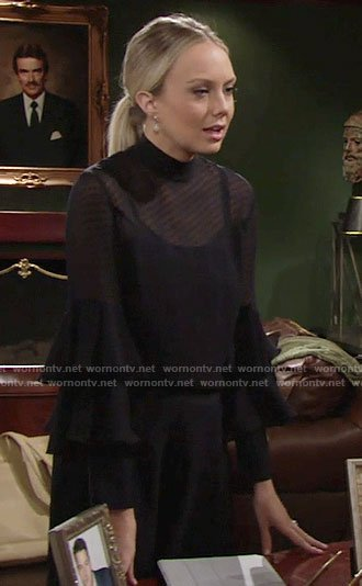 Abby's black ruffled sleeve blouse on The Young and the Restless