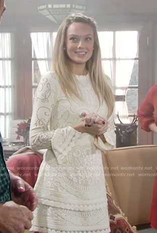 Abby's off-white lace Thanksgiving dress on The Young and the Restless