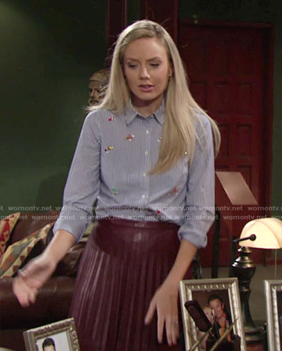 Abby's striped embellished shirt and burgundy leather skirt on The Young and the Restless