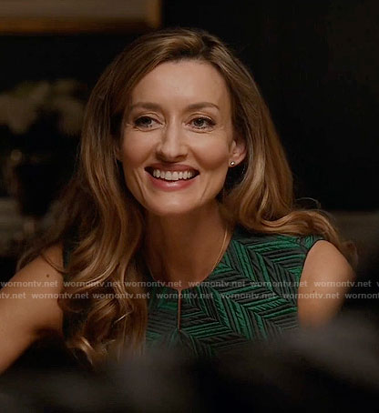 Alex's green zig zag patterned dress on Designated Survivor