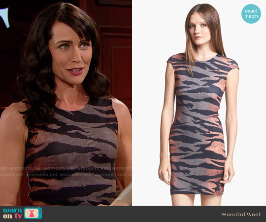 McQ by Alexander McQueen Tiger Print Dress worn by Quinn Fuller (Rena Sofer) on The Bold & the Beautiful