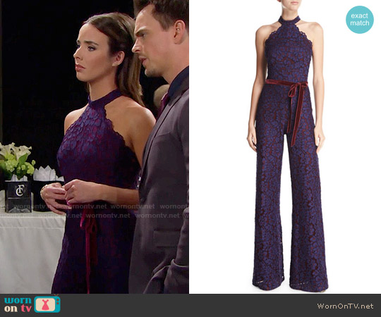 Alexis Rene Lace Jumpsuit worn by Ashleigh Brewer on The Bold & the Beautiful
