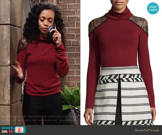Alice + Olivia Krystalle Top worn by Hilary Curtis (Mishael Morgan) on The Young & the Restless