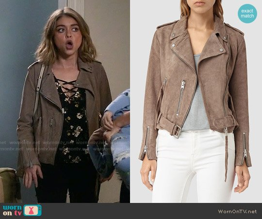 All Saints Plait Balfern Jacket in Mushroom worn by Haley Dunphy on Modern Family