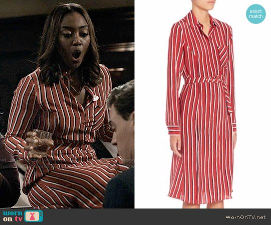 Altuzarra Marian Striped Silk Shirtdress worn by Patina Miller on Madam Secretary