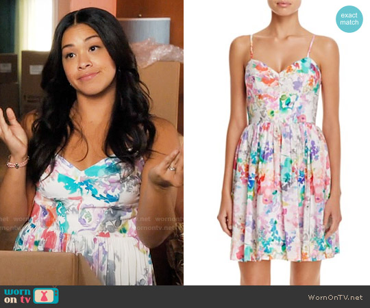 Amanda Uprichard Mai Tai Dress in Waterfall Floral worn by Gina Rodriguez on Jane the Virgin