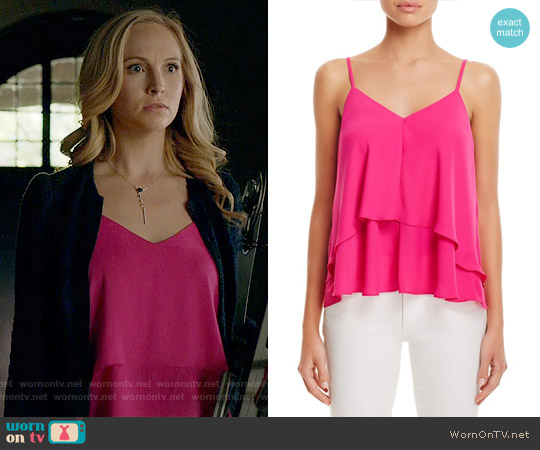 Amanda Uprichard 'Adriana' Silk Cami in Hot Pink worn by Candice Accola on The Vampire Diaries