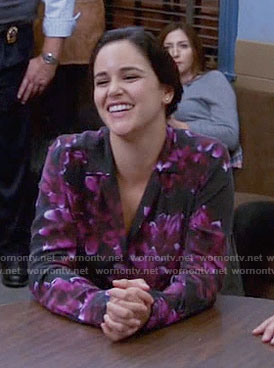 Amy's black and pink floral blouse on Brooklyn Nine-Nine